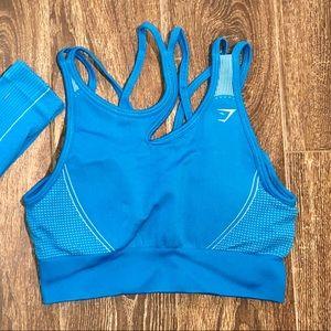 Gymshark Ultra Seamless Blue Bra Large
